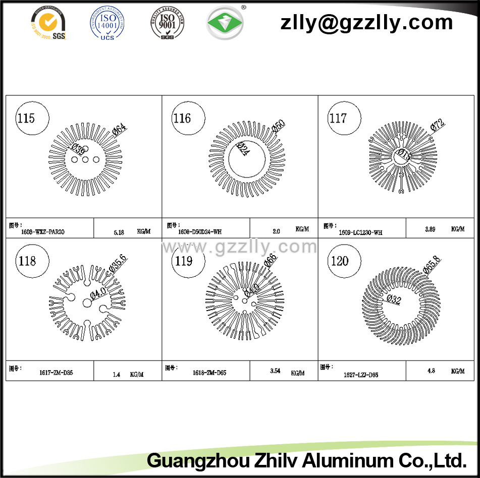 Building Material Sunflower Shaped Aluminum Extrusion Heat Sink