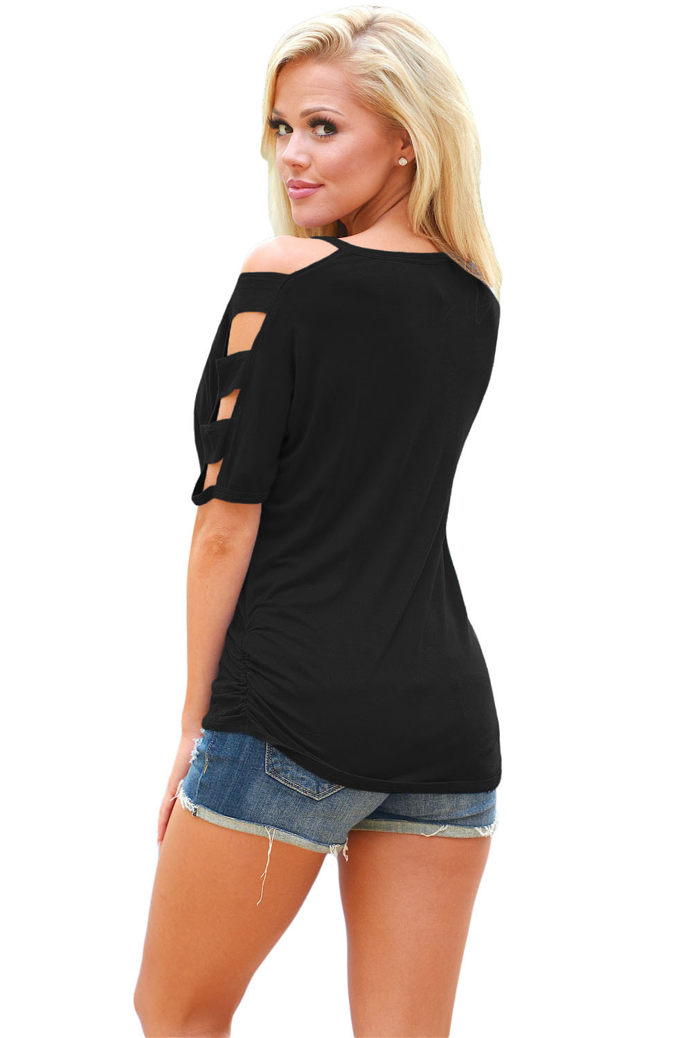 Cold Shoulder Ruched Sides T-Shirt