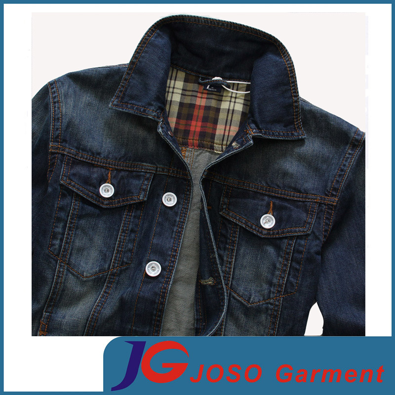 European Version of Slim Frosted Breathable Men′s Cotton Denim Jacket (JC7049)