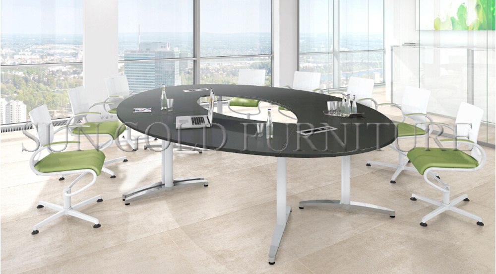 New Fashion Oval Shape Round Wooden Office Conference Table (SZ-MT119-1)