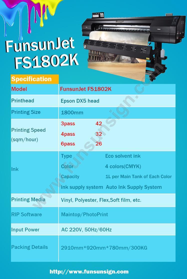 Funsunjet Fs1802g 1.8m / 6FT Flex Banner Inkjet Printer Fast Printing Speed 1440dpi