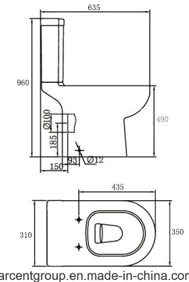 Two Piece Ceramic Toilet Ce Washdown Water Closet 00104 Disable Wc