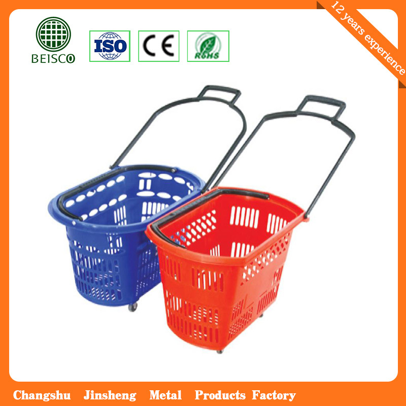 Telescope Plastic Supermaket Rolling Shopping Basket (JS-SBN06)