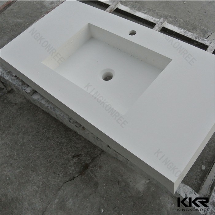 170406 Wholesale Customized Solid Surface Bathroom Vanity