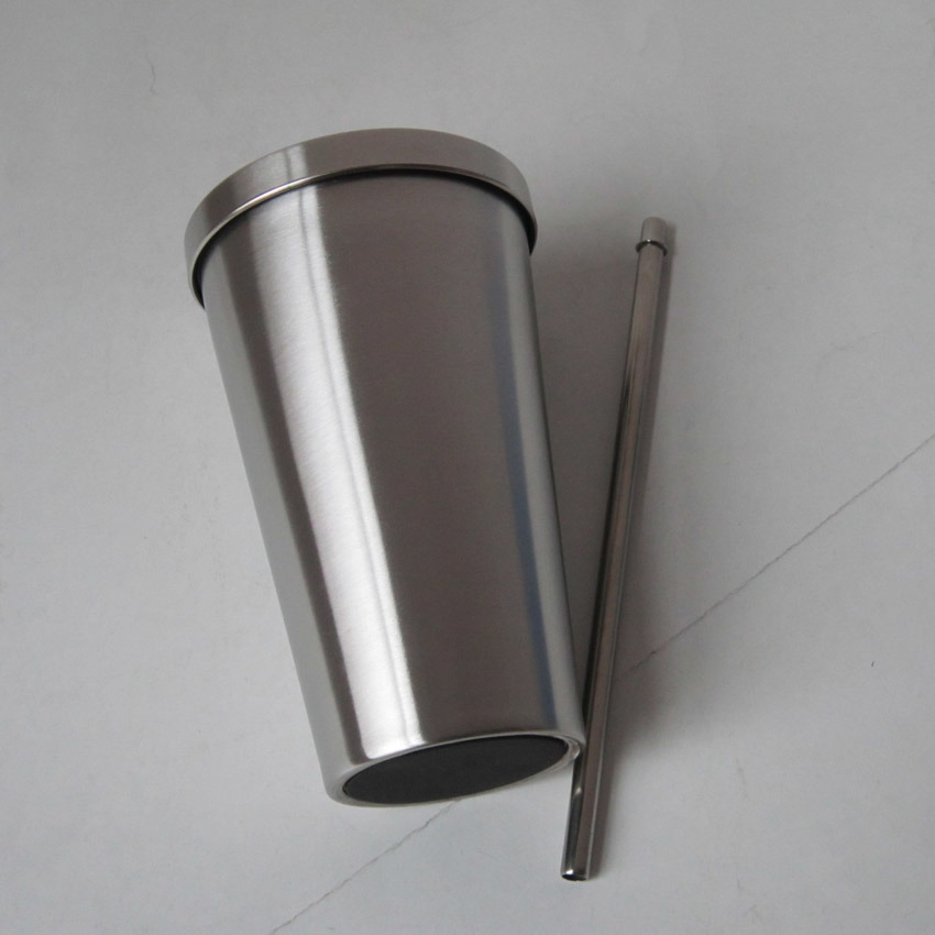 High Quality Double Wall Stainless Steel Travel Mug with Straw