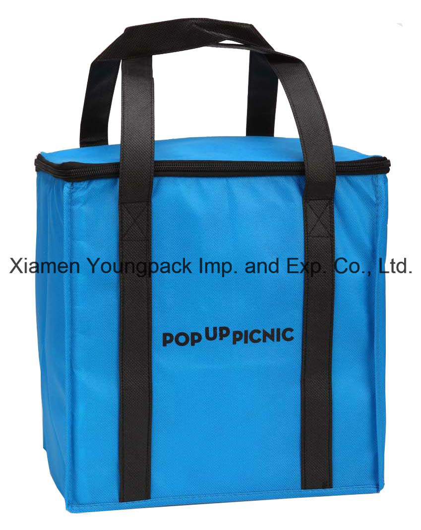 Promotional Large Reusable Non-Woven Insulated Tote Bag with Zipper