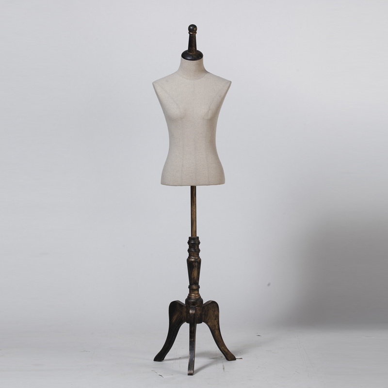 Good Quality Female Mannequin Bust with Wooden Tripod Baseplate