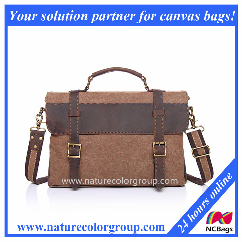 Canvas Messenger Bag Briefcase with Genuine Leather (MSB-038)
