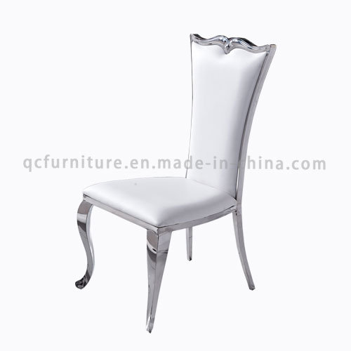 PU White Wedding Chair with Silver Stainless Steel Leg