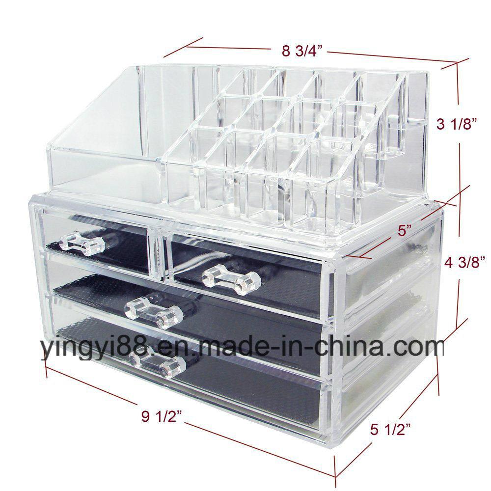 Wholesale Acrylic Jewelry & Cosmetic Storage Display Organizer Two Pieces Set