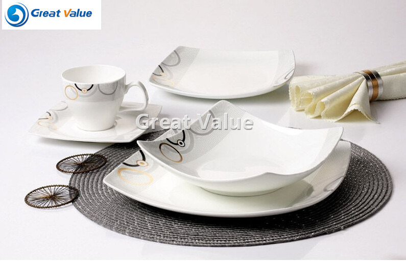 20PCS Bavaria Porcelain Dinner Set, Square Modern Dinner Plate