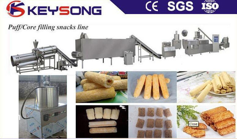 High Capacity Puff Corn Core Filling Snack Food Making Machine