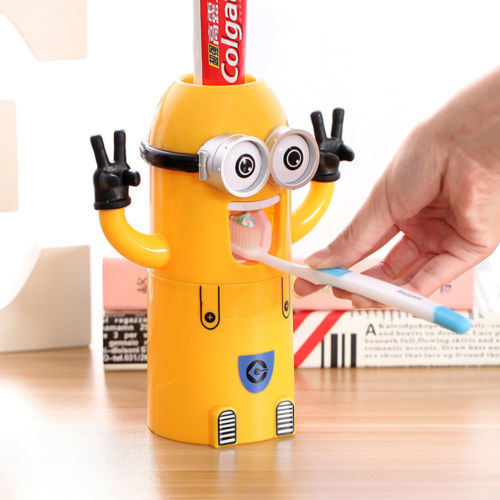 Automatic Toothpaste Dispenser Kids Cartoon Plastic Bathroom Products Cup