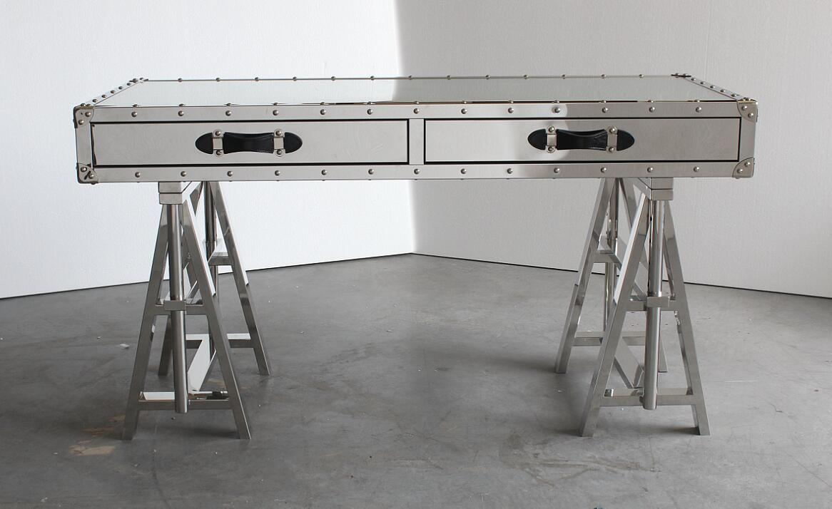 Home Furniture, Adjustable Shiny Stainless Steel Legs Desk, Console Rtk-91