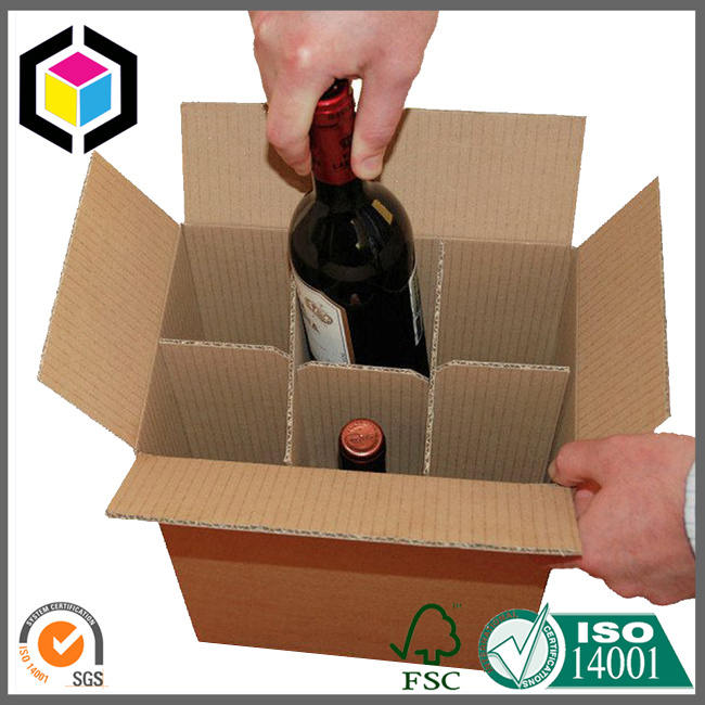 6 Pack Corrugated Cardboard Paper Wine Box with Carrier