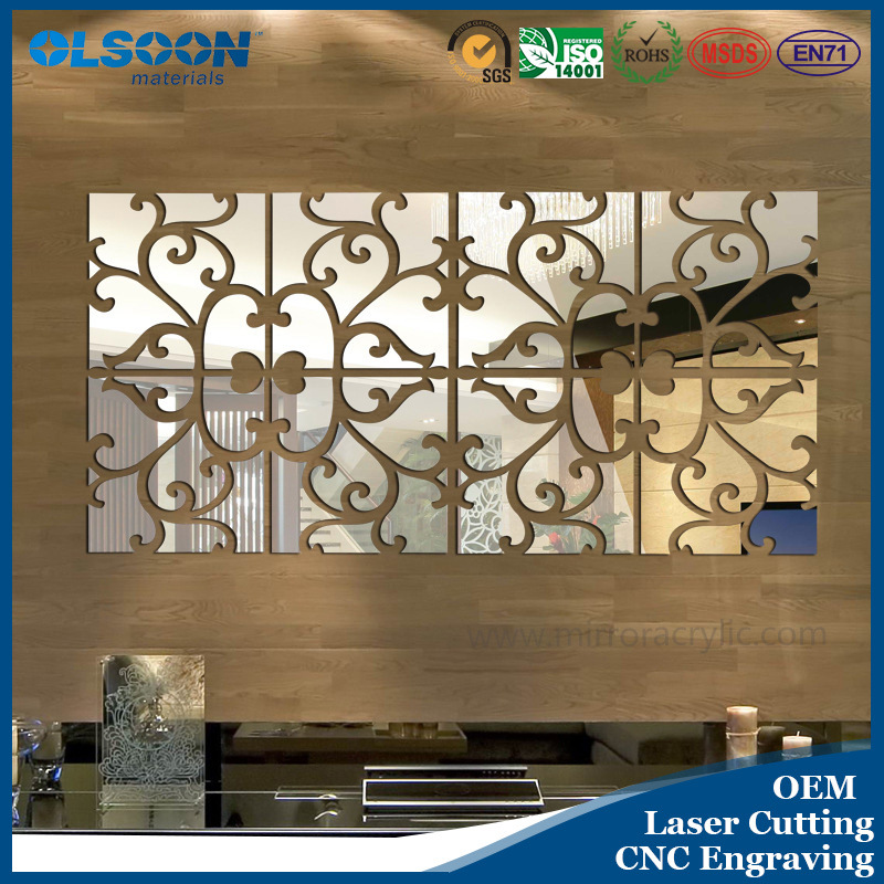 Olsoon Custom Design Acrylic Home Wall Mirror Decoration