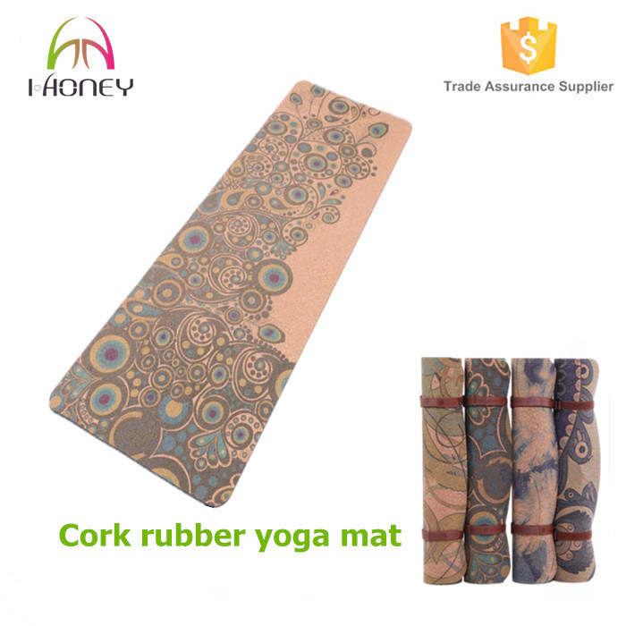 High Density Eco-Friendly Cork + Rubber Exercise Yoga Mat for Pilates, Fitness & Workout with Carrying Strap