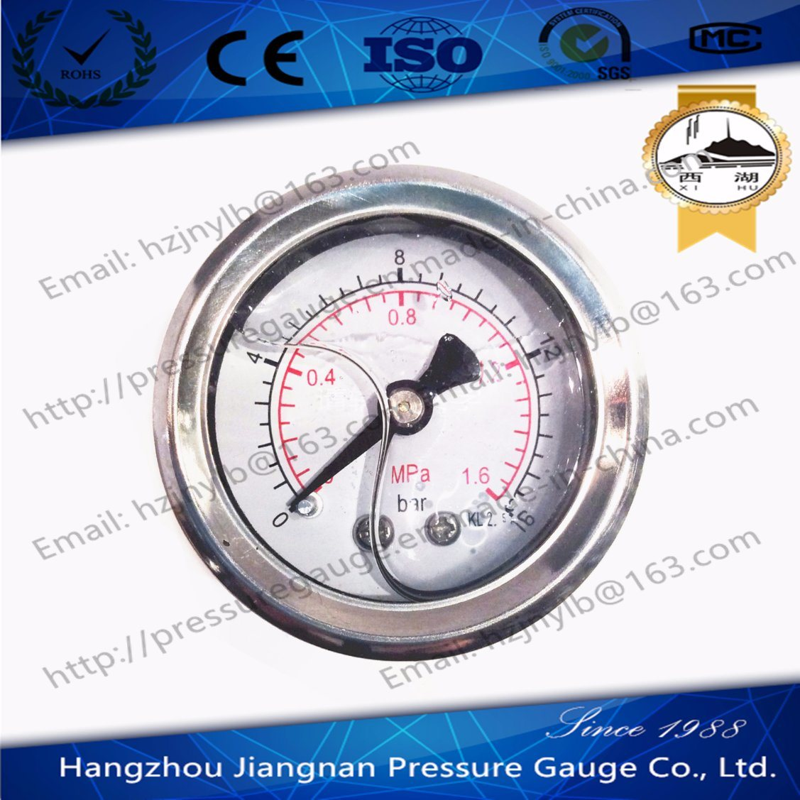 40mm 1.5′′ Back Connection Stainless Steel Oil Pressure Gauge Filled with Glycerin