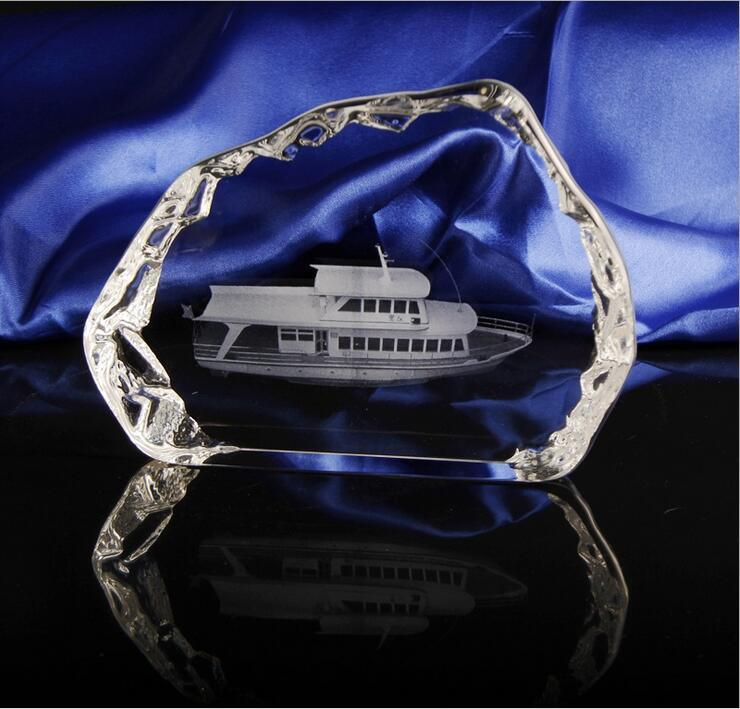 Gloden K9 Crystal Glass Trophy for Souvenir