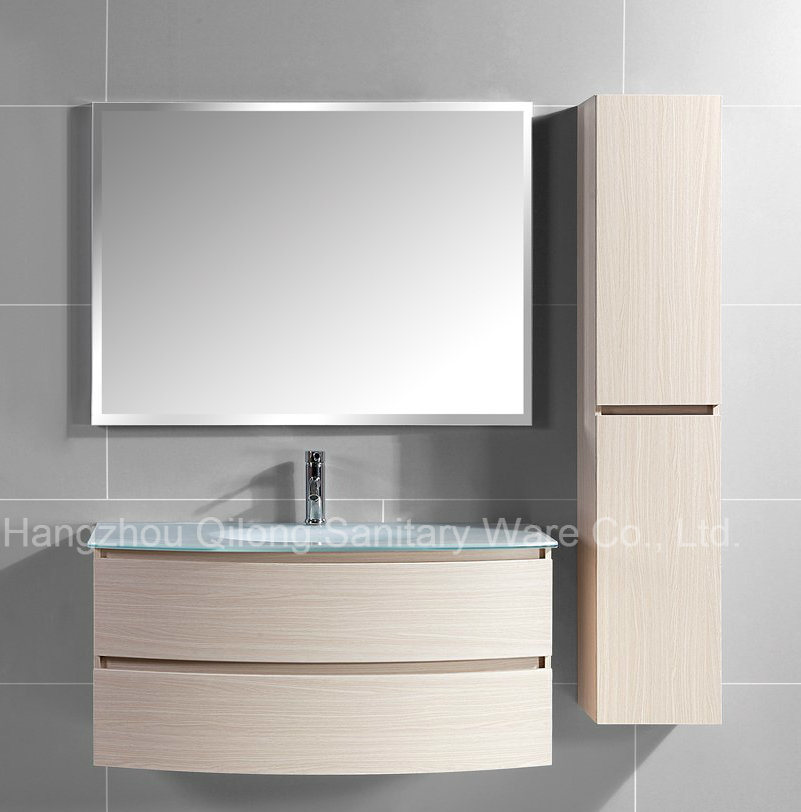 Melamine MDF Bathroom Vanity with Glass Sink Cabinet