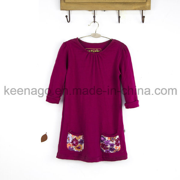 High Quality Organic Cotton Fashion Princess Long Sleeve Beads Girl Dress