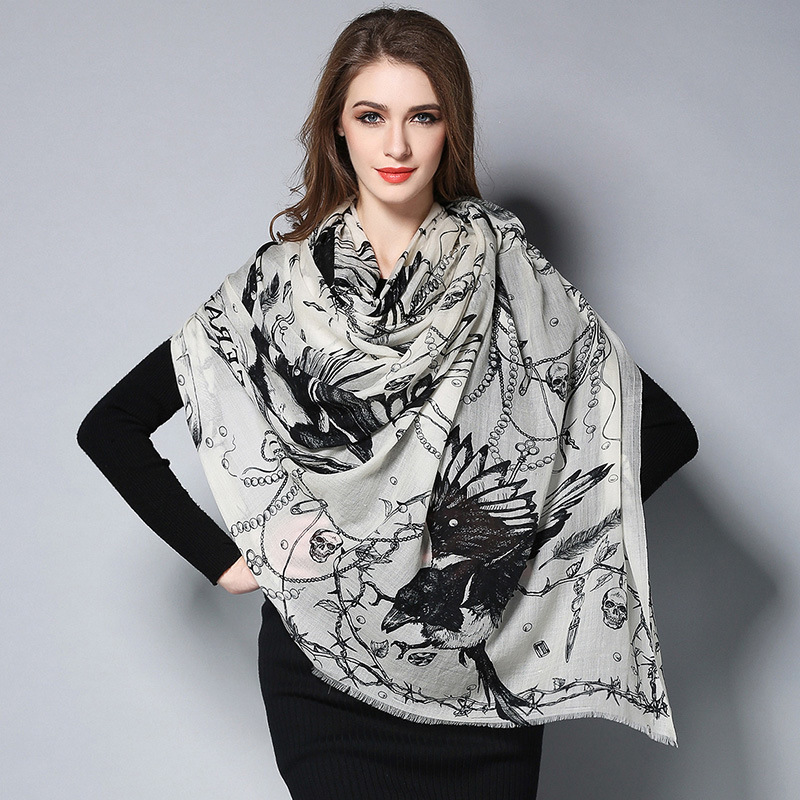Digital Printing Black and White Wool Scarf
