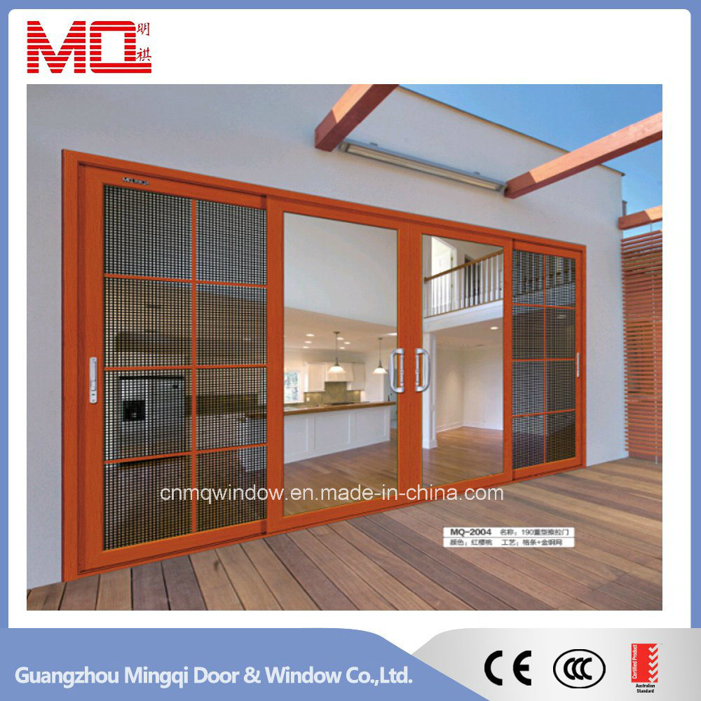 Grey Color Aluminum Sliding Door with Double Glass Mqd-01