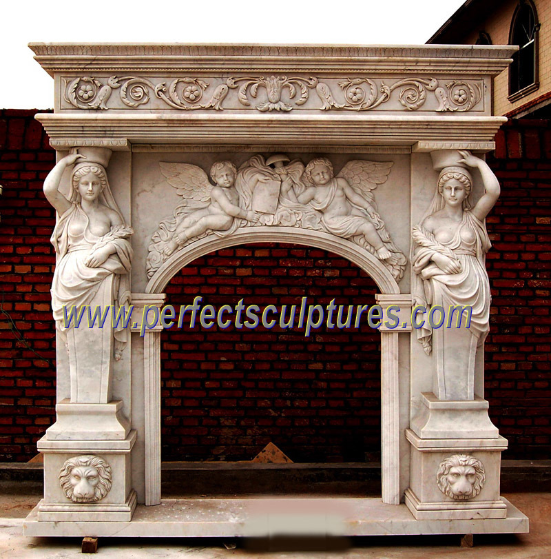 Carved Marble Fireplace with Stone Mantel (QY-LS203)