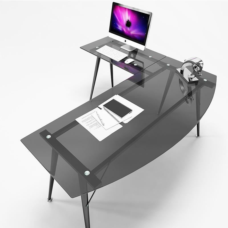 Modern Study Furniture L-Shaped Glass Computer Desk