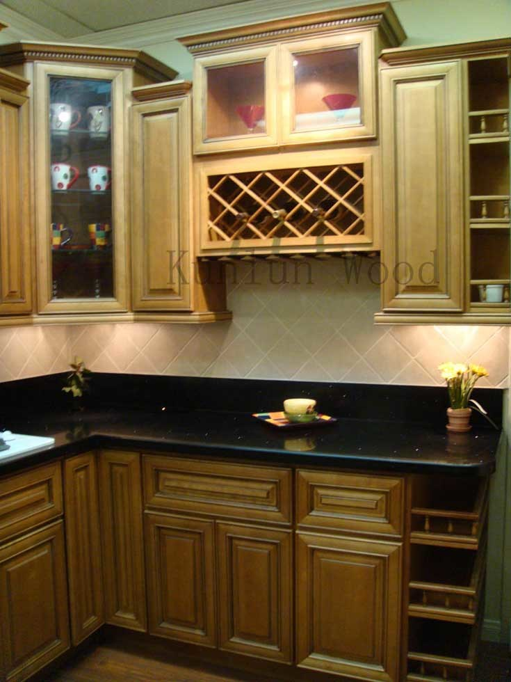 China kitchen cabinet ginger glaze photos pictures for Chinese kitchen cabinets