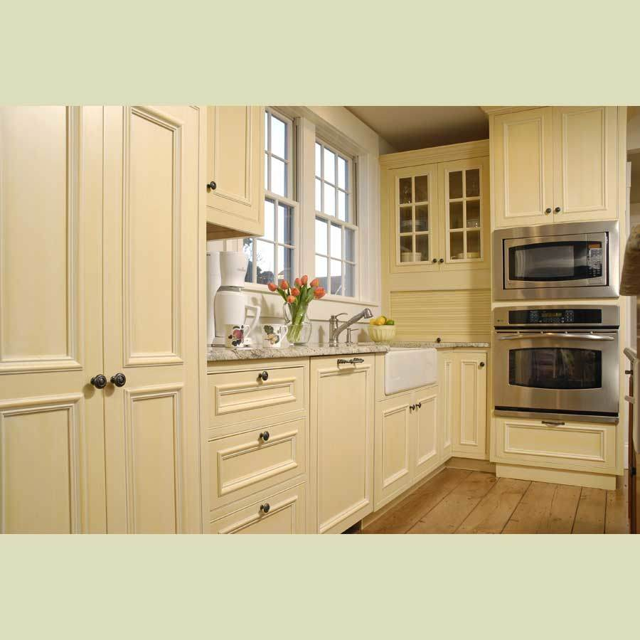 China Solid Wood Kitchen Cabinet China Cream Color Wood Cabinet American Style Kitchen Cabinet