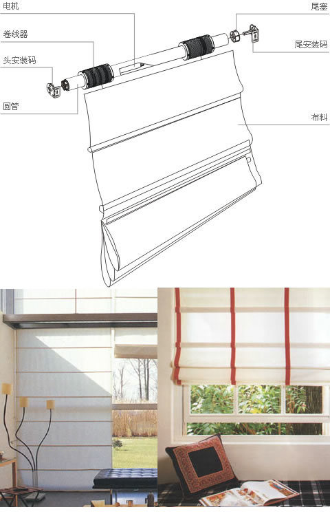 China Motorized Roman Blind China Linen Roman Shade Motorized Roman Blind