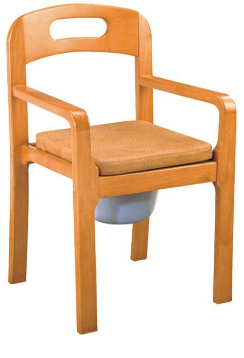 Wooden Commode Chair with Armrest and Backrest (SC-CC14(W))