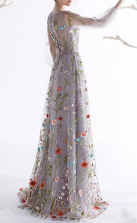 A-Line Flora Evening Dress Puffy Long Sleeves Embroidery Prom Gowns Lb1836