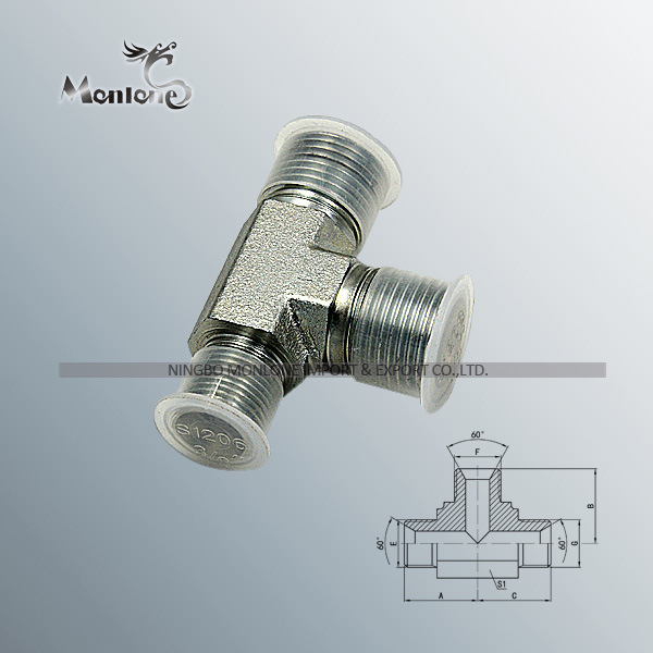 CE Approved Bsp Male 60 Degree Seat and Bsp Female 60 Degree Cone Branch Tee Hose Fitting (BB)