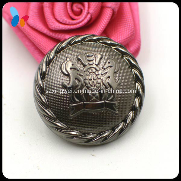 High Quality Black Plastic Shank Button with Raise up Logo