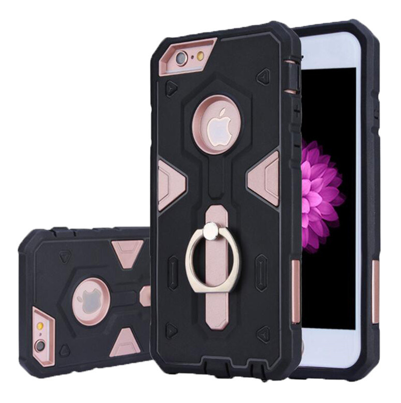TPU+PC Armor Hybrid Holder Mobile Back Cover with Ring Shell Protector Shockproof Case (XSEH-012)