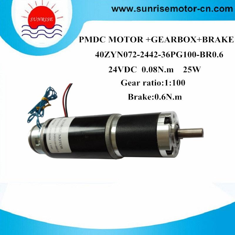 40zyn072-2440-36pg100-Br0.6 24VDC 0.08n. M 25W DC Gear Motor