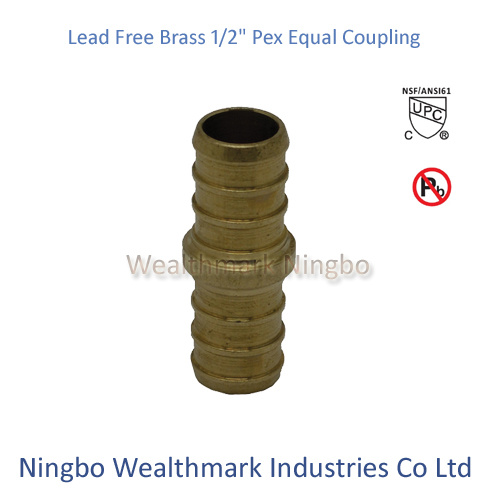 "Lead Free Brass 1/2"" Equal Coupling Pex Pipe Plumbing Fitting"