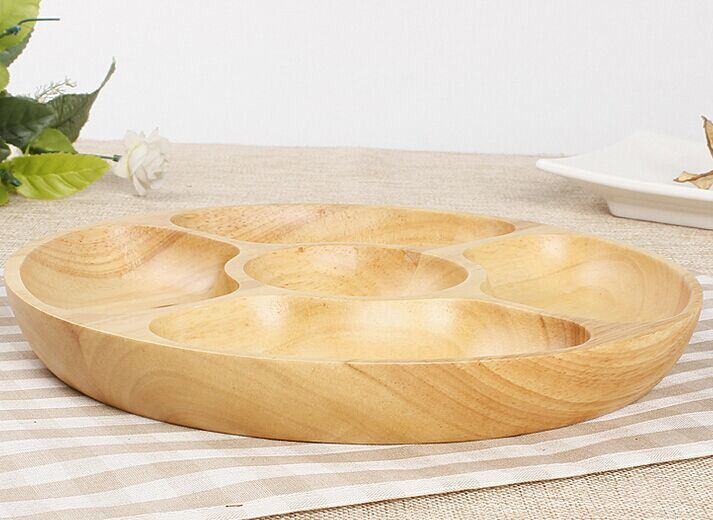 2016 Hot Sale Wooden Tray Dish Bamboo Round Platter Fruit Plate
