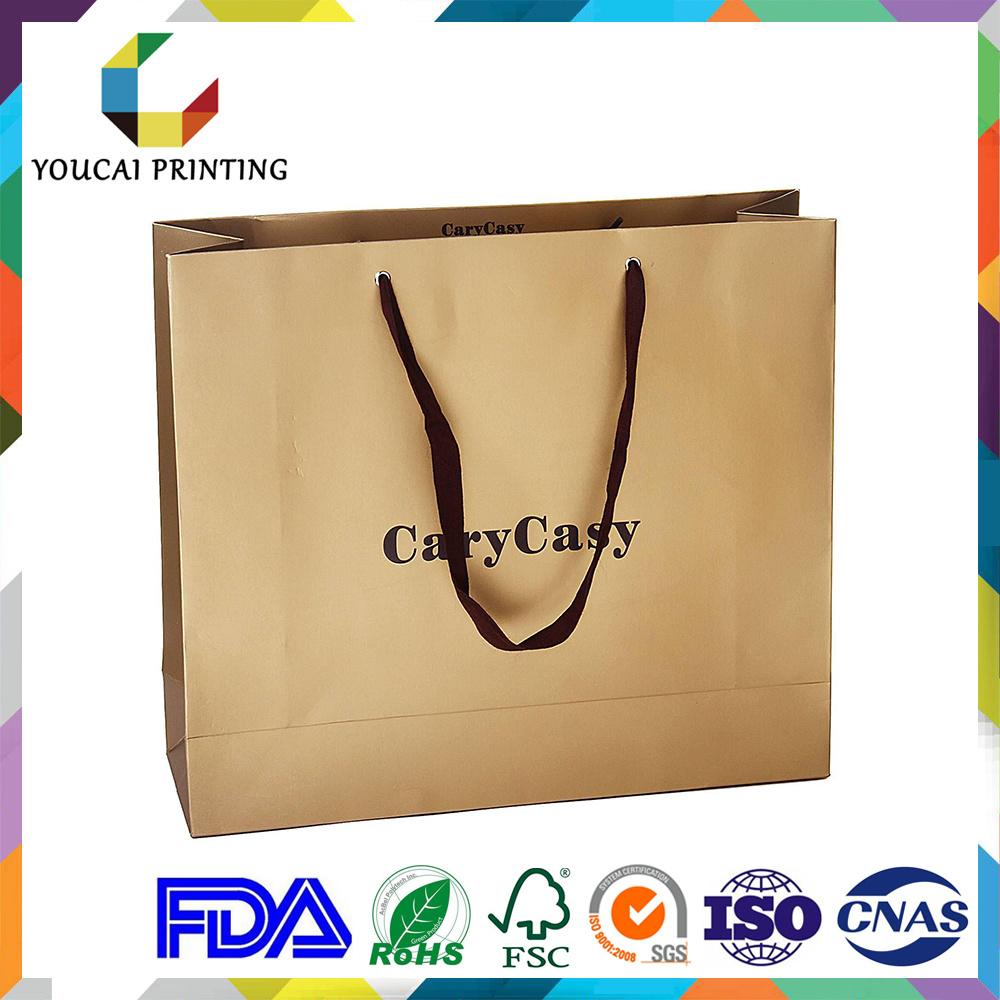 Fancy Rectangular Garments Shopping Paper Bag with Custom Gold Embossed Logo