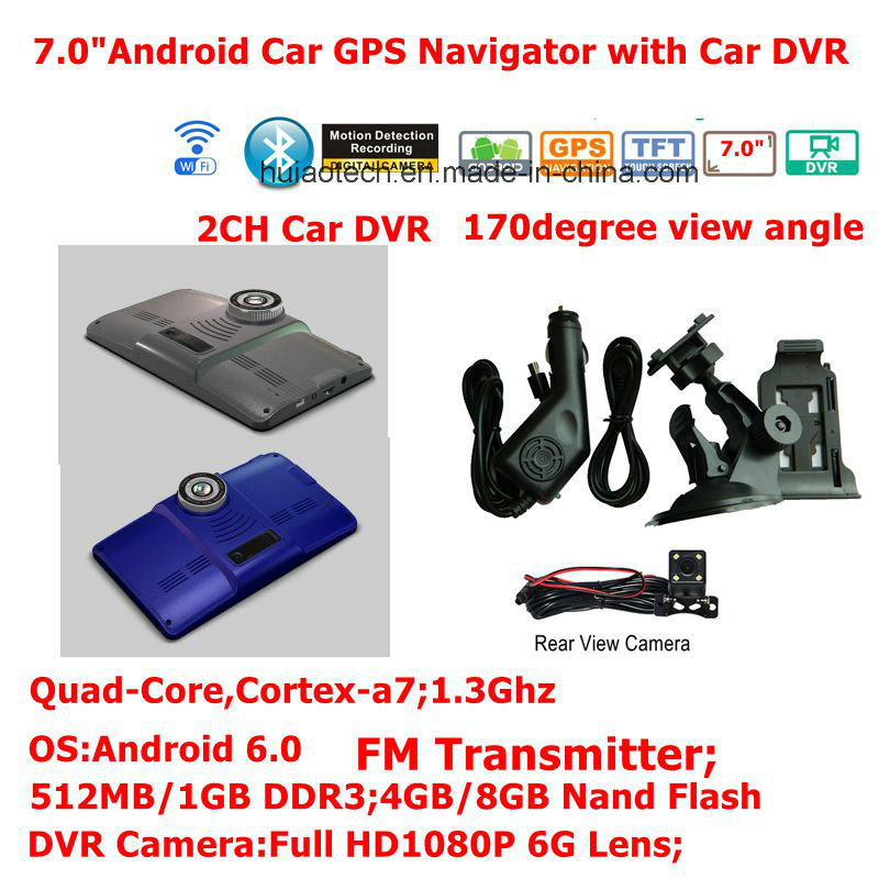 New 7.0inch Android 6.0 Quad-Core Car Tablet PCS with GPS Navigation, 2CH Car DVR, Parking View Camera,FM-Transmitter,Bluetooth,Dash Video Recorder Camera;WiFi
