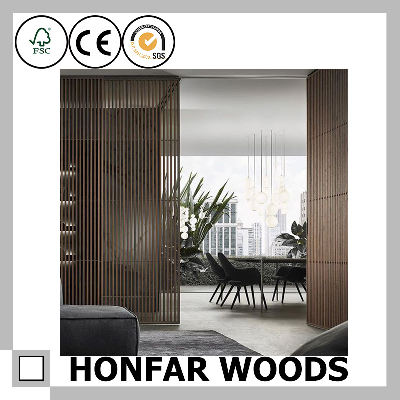 Chinese Style Light Brown Wood Unfold Screen for Decoration