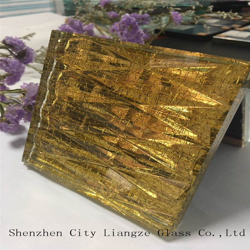 10mm+Silk+5mm Golden Mirror Customized Art Glass/Tempered Glass/Safety Glass for Decoration