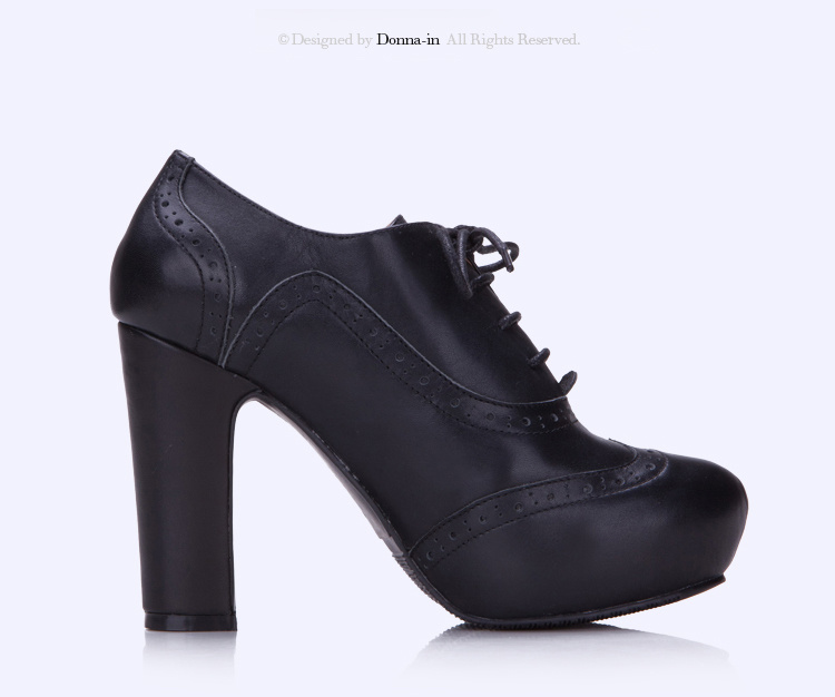 Lady Leather High Heels Pumps Oxford Platform Women Casual Shoes