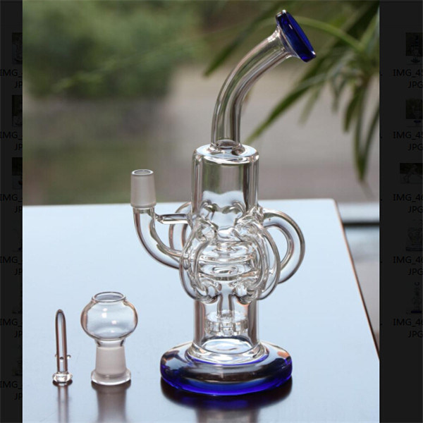 Royal Blue Glass Water Pipes with Dome Nail Headshower Perc