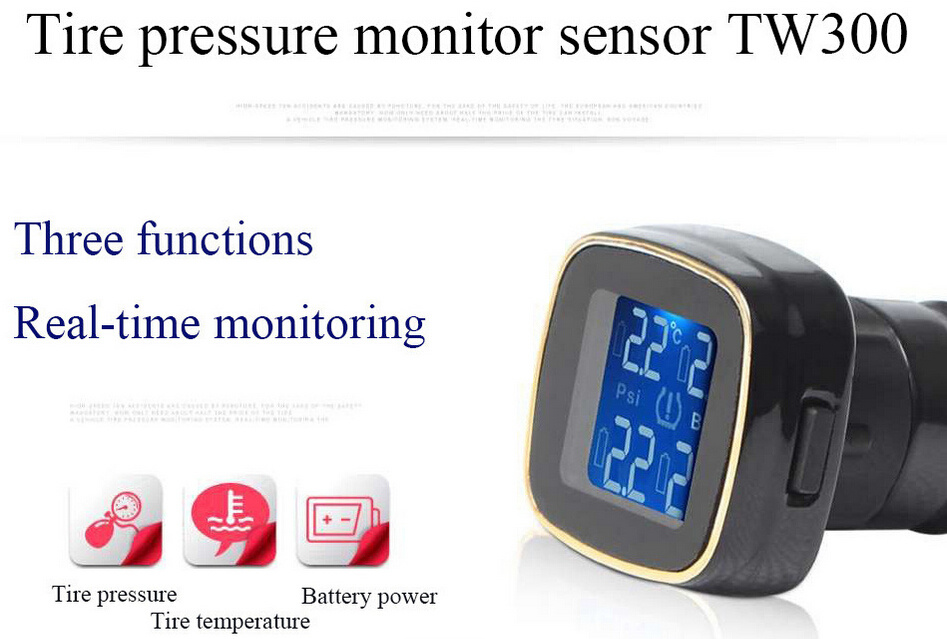 TPMS Tyre Pressure Monitoring System+4 External Sensors Cigarette Lighter