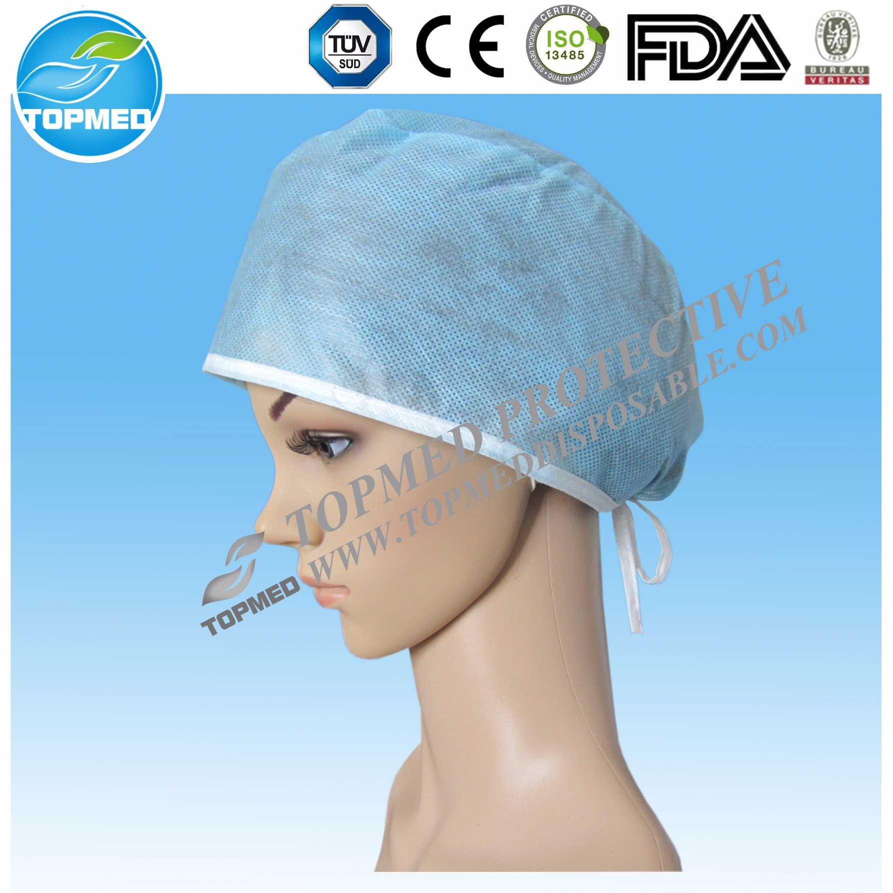 Disposable Nonwoven Doctor Cap with Tie on
