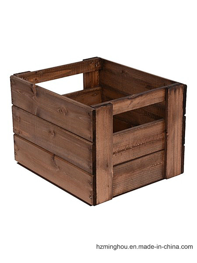 Customize Size Rustic Wood Basket for Display Stand Storage Shelf