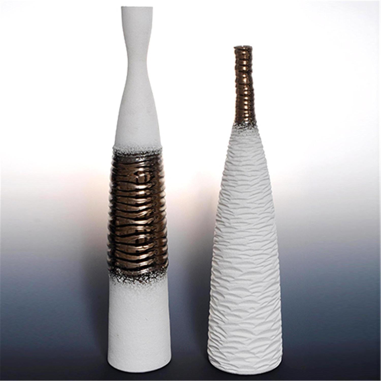 Home Derocative Ceramic Vase with Part Electroplating